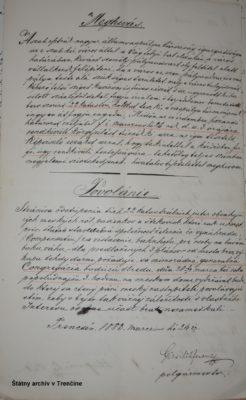 Pozvánka na zasadanie mestskej rady. Pozvánka na zasadanie mestskej rady ohľadom predaja pozemkov pod železničnú trať. 24. 3. 1883