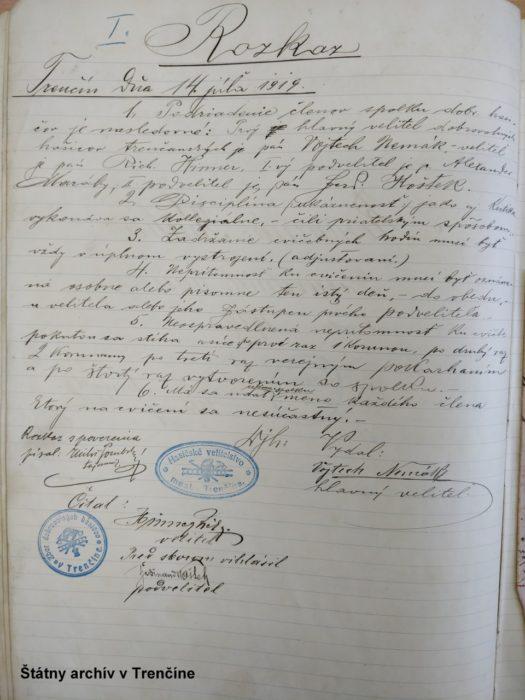 Rozkaz veliteľa - Vojtecha Nemáka z roku 1920