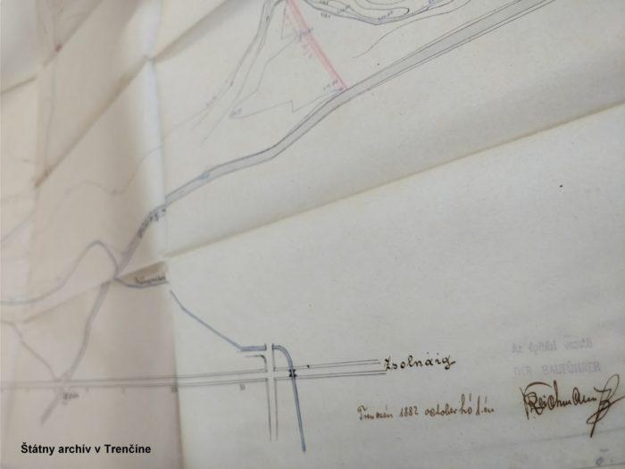Zápisnica z prerokovania výstavby násypu – časť plánu. 27. 11. 1883