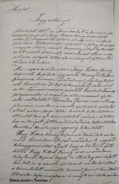 Zápisnica z prerokovania výstavby násypu v chotári obce Kubra pri stavbe štátnej cesty a železničnej trate s cieľom výkupu priľahlých pozemkov. 27. 11. 1883