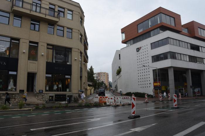 uzávierka na Partizánskej ulici