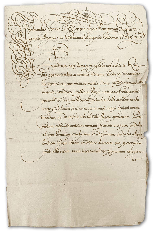 Titulný list nariadenia kráľa Ferdinanda III. richtárovi a rade mesta Trenčín, aby nereagovali na výzvu sedmohradského kniežaťa k insurekcii