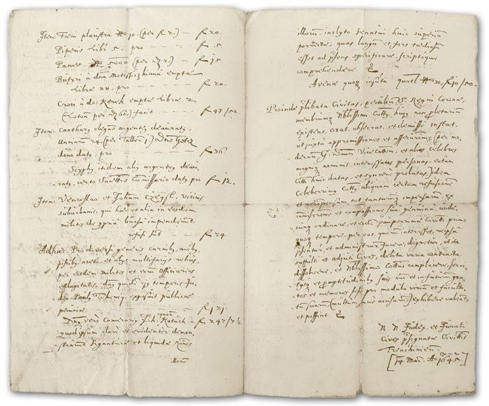 Úryvok zo žiadosti richtára a rady mesta Trenčín Trenčianskej stolici o preplatenie náhrady za výdavky, ktoré mesto vyplatilo v decembri 1644 cisárskym vojakom