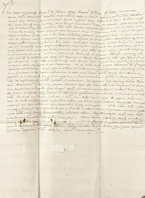 Žigmund Forgáč, uhorský palatín, vydáva protest uhorských evanjelických stavov proti tomu, že jezuiti sa v rozpore so zákonmi kráľovstva usádzajú v Hornom Uhorsku (25. máj 1618)