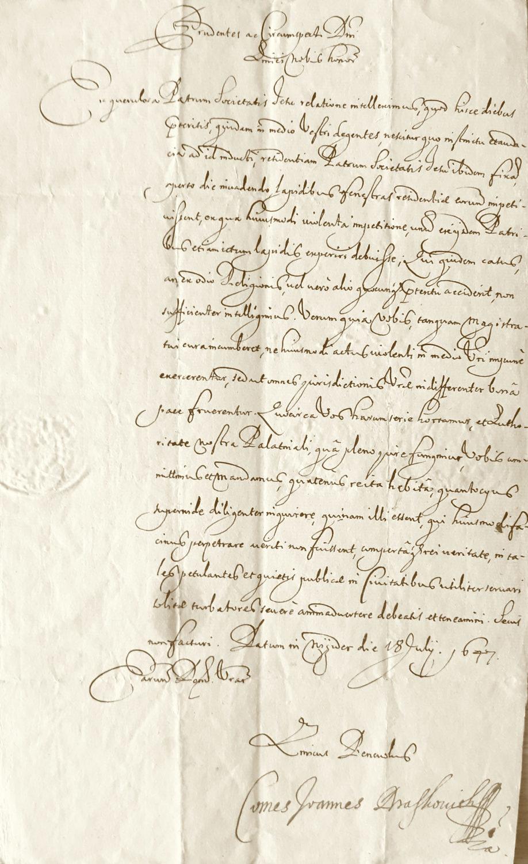 Gróf Ján Draškovič, uhorský palatín, nariaďuje richtárovi a rade mesta Trenčín, aby vyšetrili prípad napadnutia rezidencie jezuitov v Trenčíne a ublíženie hodenými kameňmi aj jednému z otcov (18. júl 1647)