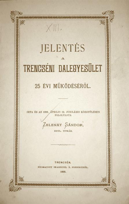 Hlásenie o 25 ročnej činnosti spolku - brožúra 1899