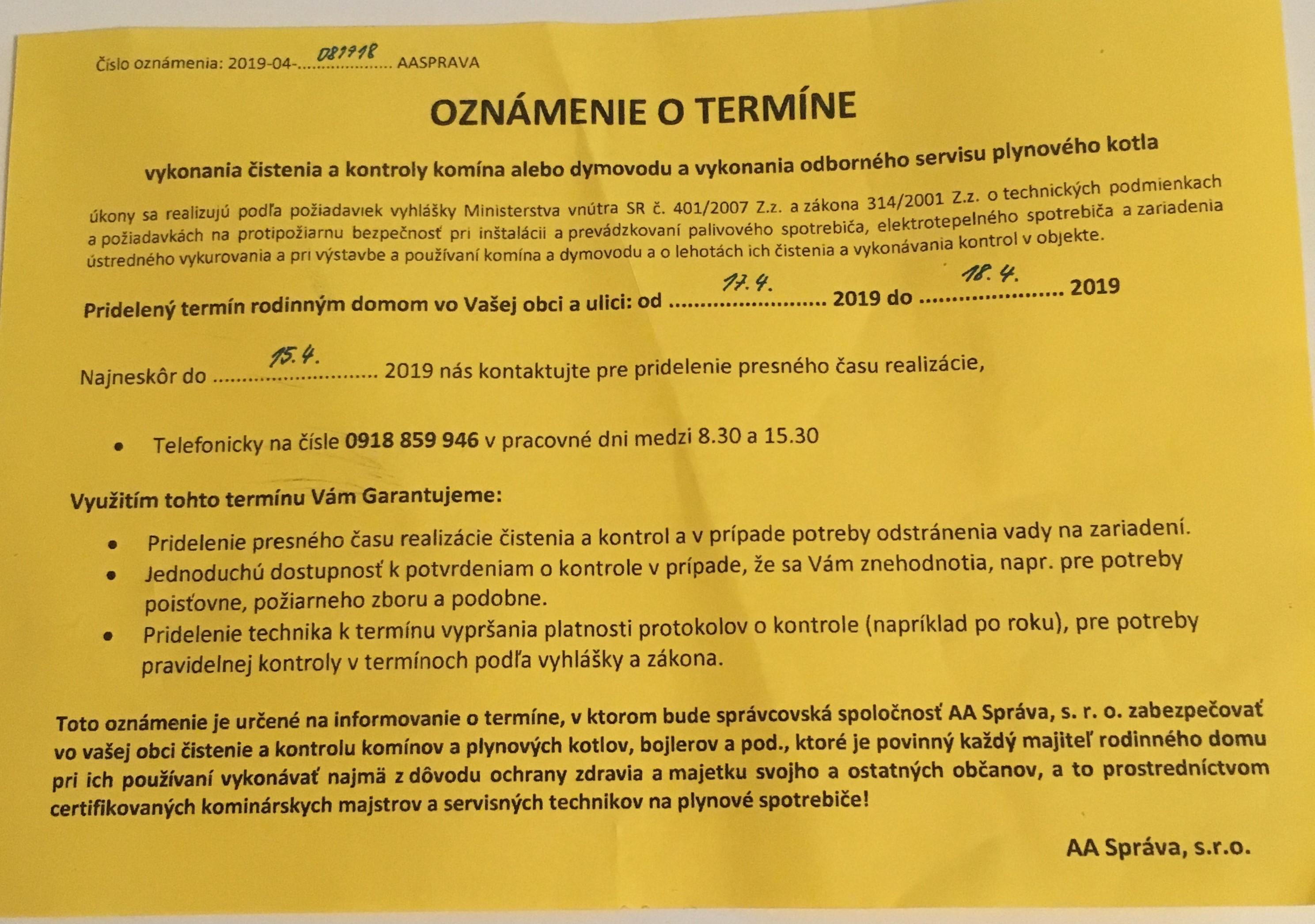 6597925cdcff5 Žlté letáky s výzvou na kontrolu komína nie sú úradným oznámením » Mesto  Trenčín