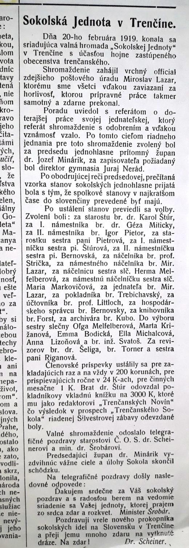 Správa o ustanovujúcom valnom zhromaždení Sokola v Trenčíne v Trenč. Novinách.