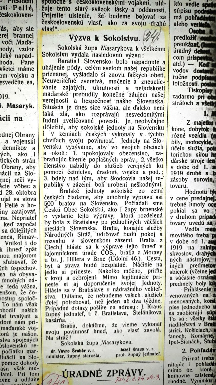 Výzva Sokolskej župy Masarykovej v súvislosti s napadnutím Slovenska maďarskou armádou v Trenč. Novinách.