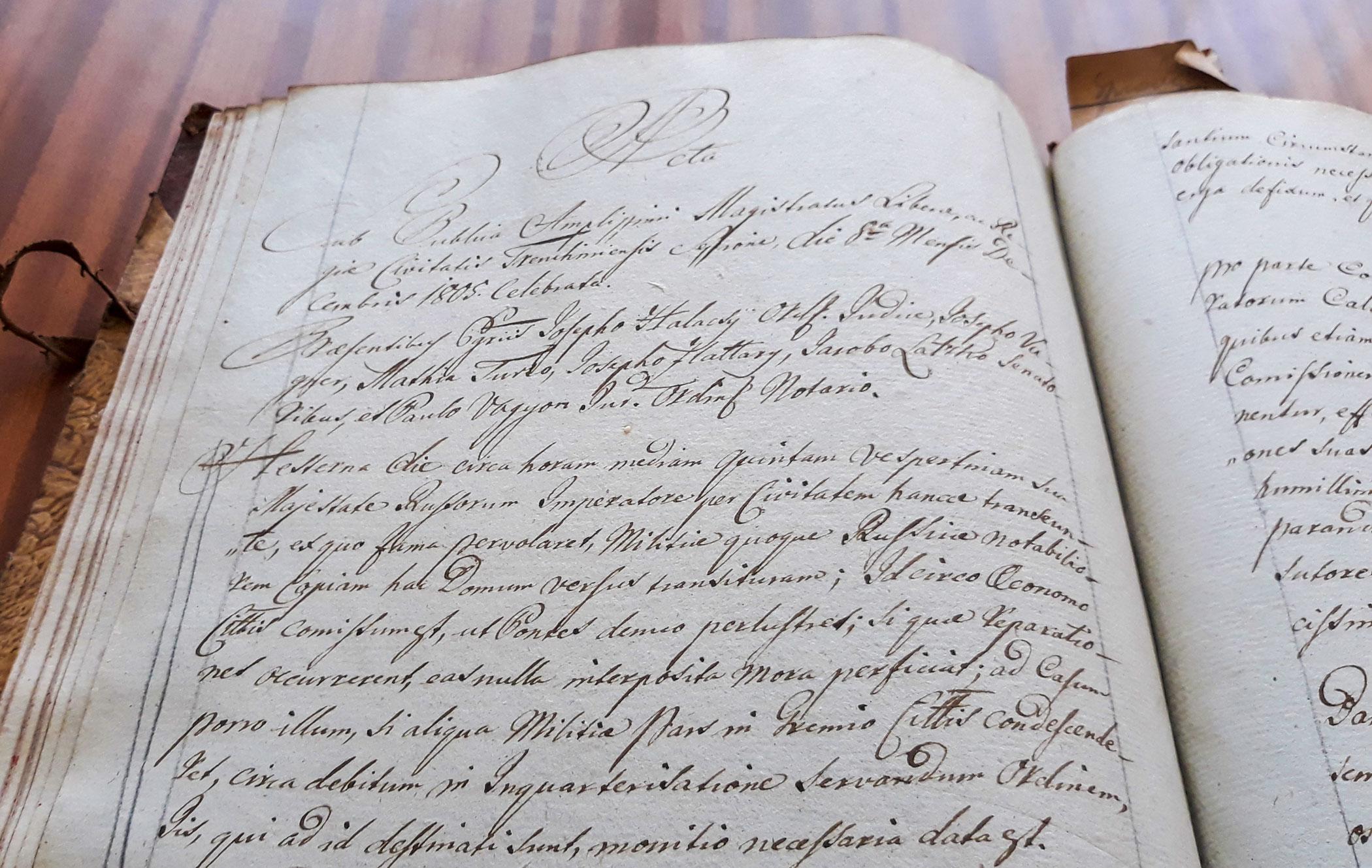 Záznam v Protokole mesta Trenčín o návšteve ruského cára