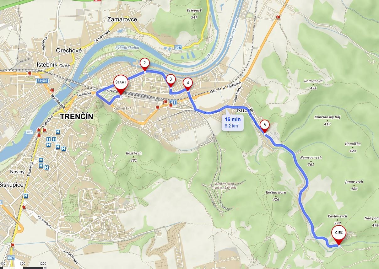 Trasa Linky č. 33 – Autobusová stanica – Považská-Kubcica,konečná (sezónna linka počas víkendov a sviatkov v termíne od 01.07. 2021 do 31.08.2021)